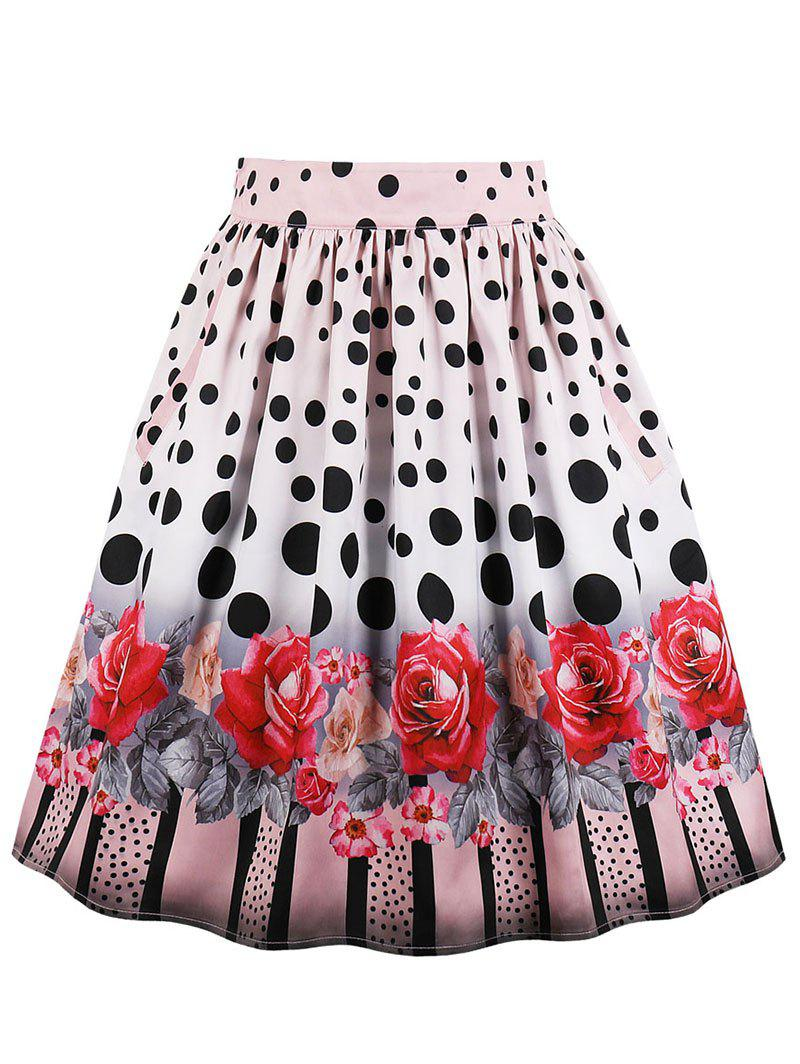 High Rise Polka Dot Floral Midi Skirt - LIGHT PINK 2XL
