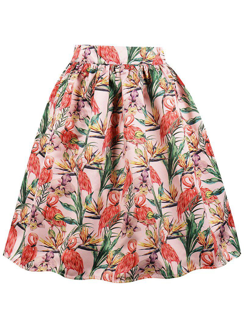 Pocket Crane Print Flared Midi Skirt - LIGHT CORAL L