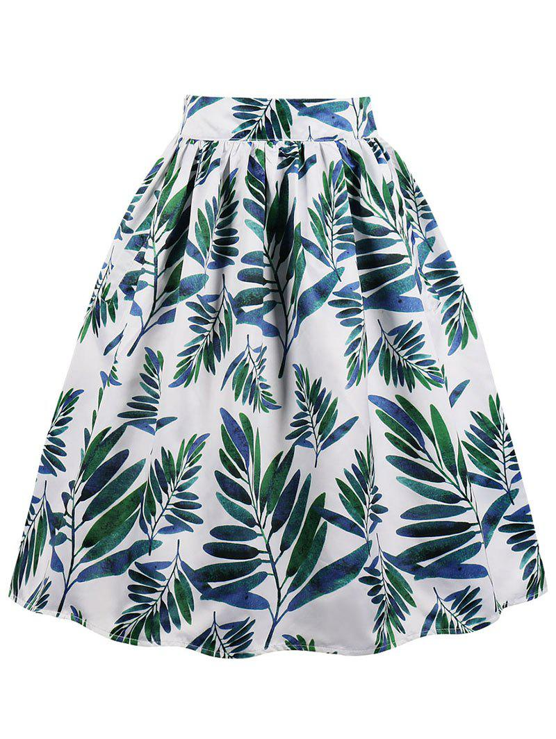 High Rise Leaves Print Midi Swing Skirt - WHITE M