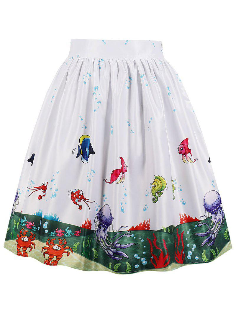 Sea Scenery 3D Print Midi A Line Skirt - WHITE M
