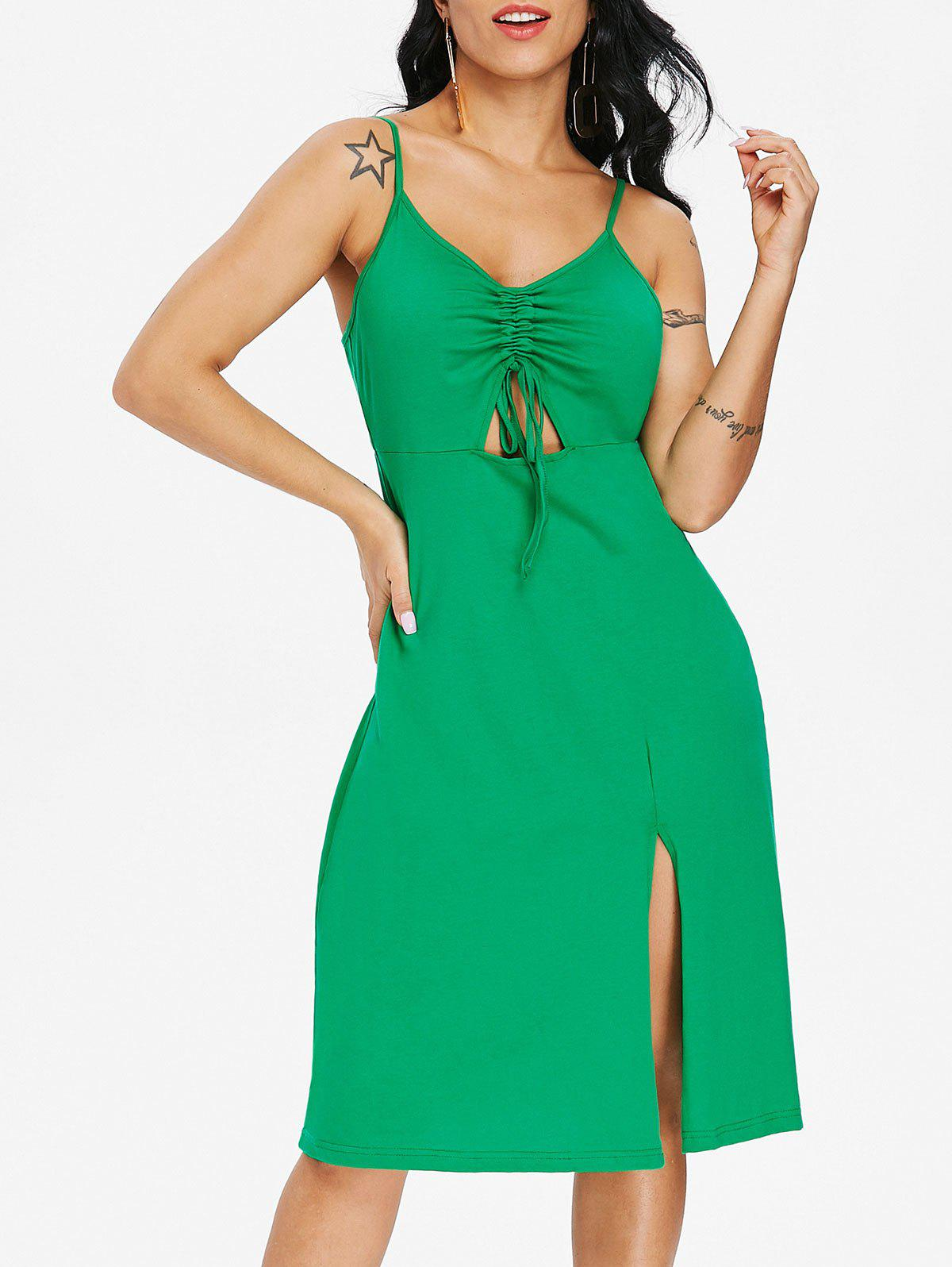 Ruched Drawstring Slip Dress - GREEN M