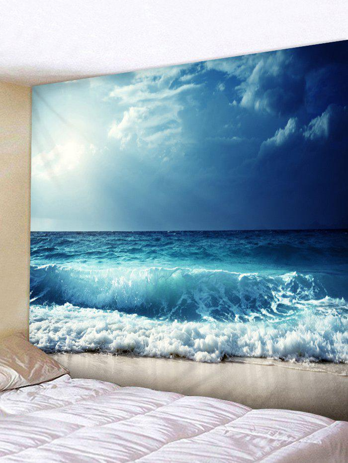 Sunshine Sea Wave Printed Tapestry Wall Hanging Decoration - OCEAN BLUE W91 INCH * L71 INCH