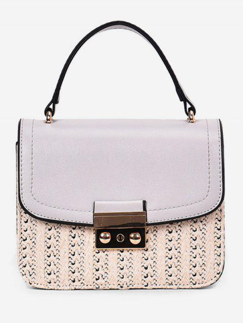 Vacation Straw Style Chain Crossbody Bag with Handle - GRAY CLOUD
