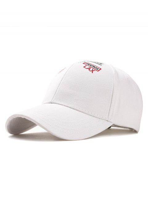 Outdoor Letter Embroidery Adjustable Graphic Hat - WHITE