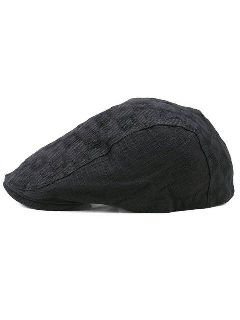 Outdoor Checked Pattern Cabbie Hat - BLACK
