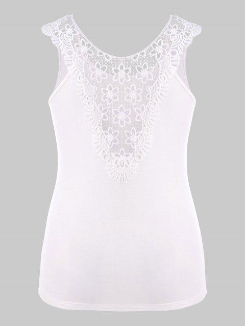 Plus Size Lace Hollow Out T-shirt - WHITE 3X