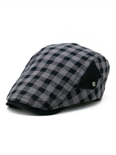 Lightweight Plaid Pattern Newsboy Cap - BLACK