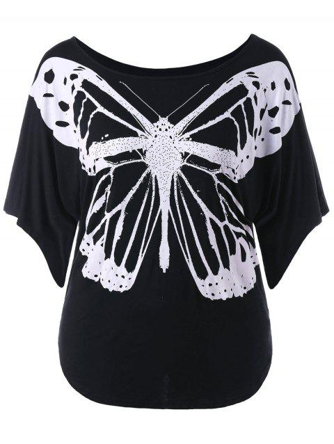 Butterfly Print Plus Size T-shirt - BLACK 2X