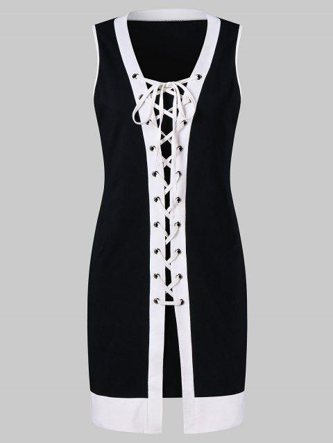 Lace Up Contrasting Trim Bodycon Dress With Cami Dress - BLACK L