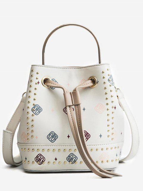 Studded Strawstring Bucket Bag with Handle - WHITE