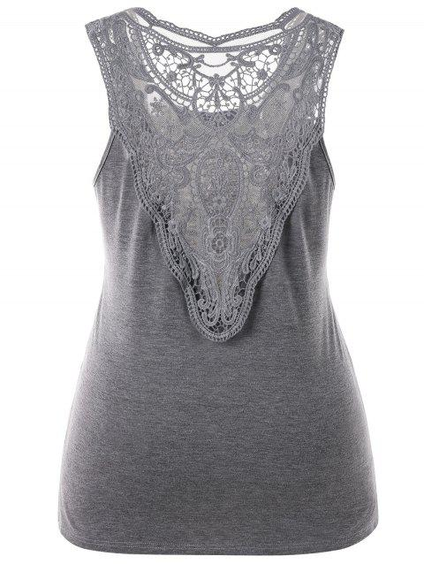 Plus Size Back Sheer Lace Top - GRAY 2XL