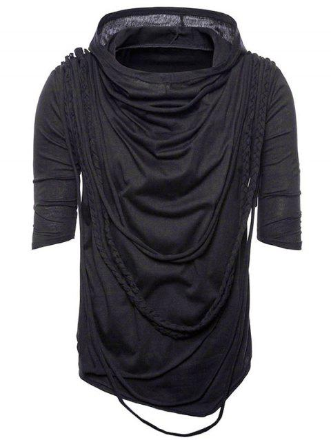 Multilevel Ropes Ornaments Asymmetric Hem Hoodie T-shirt - BLACK L