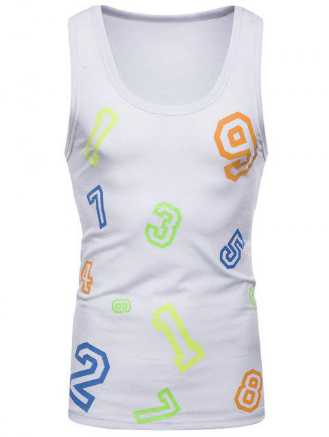 Figure Print Casual Tank Top - WHITE S
