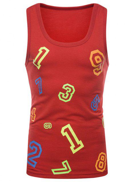 Figure Print Casual Tank Top - RED 2XL