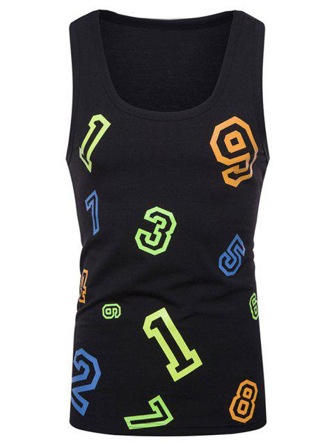 Figure Print Casual Tank Top - BLACK S