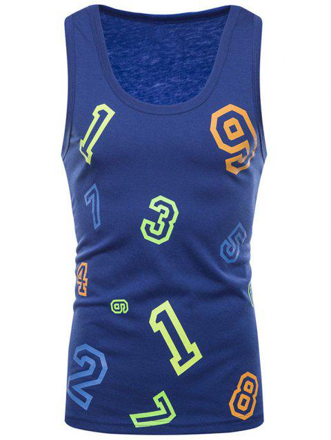 Figure Print Casual Tank Top - BLUE 2XL