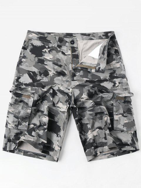 Zipper Fly Oil Paint Print Casual Cargo Shorts - COLORMIX M