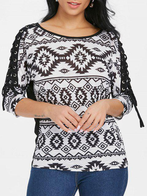 Lace Up Sleeve Aztec T-shirt - BLACK M