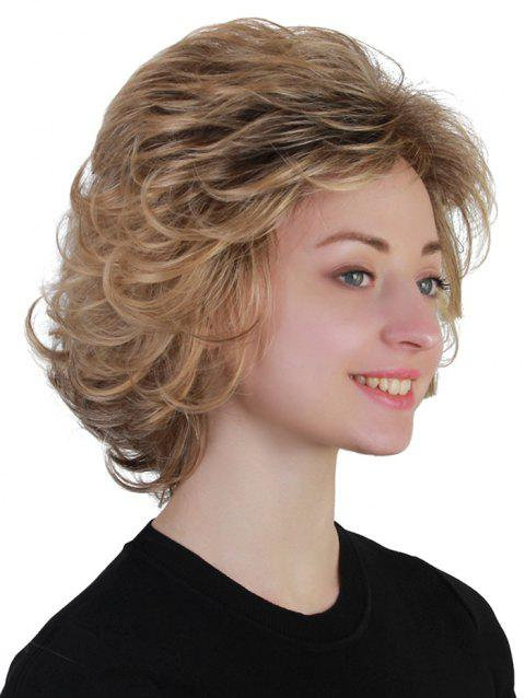 Short Side Bang Shaggy Colormix Slightly Curly Synthetic Wig - multicolor