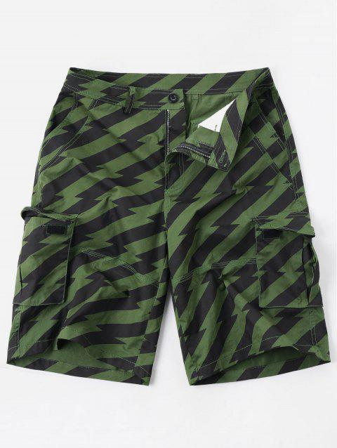 Multi-pocket Diagonal Stripe Zipper Fly Cargo Shorts - COLORMIX 2XL