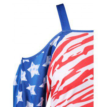 Plus Size Cutout American Flag T-shirt - multicolor 5XL