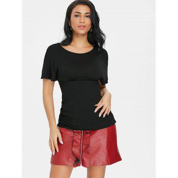 Cross Back Short Sleeve T-shirt - BLACK XL