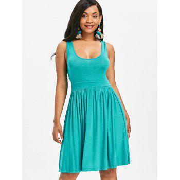 U Neck Lace Panel A Line Dress - MACAW BLUE GREEN L