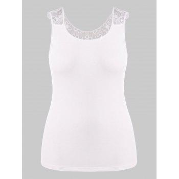 Plus Size Lace Hollow Out T-shirt - WHITE 5X