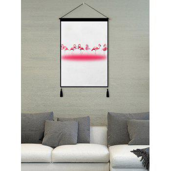 Flamingo Print Tassel Wall Art Hanging Painting - WARM WHITE 1PC:18*26 INCH(NO FRAME)