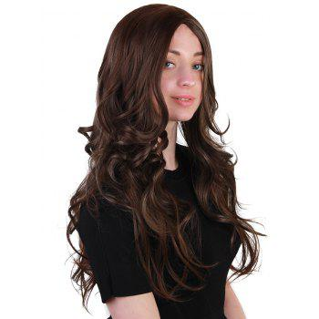 Long Center Parting Wavy Synthetic Party Wig - BROWN