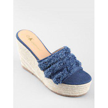 Wedge Heel Denim Leisure Frayed Edge Slides - DEEP BLUE 35
