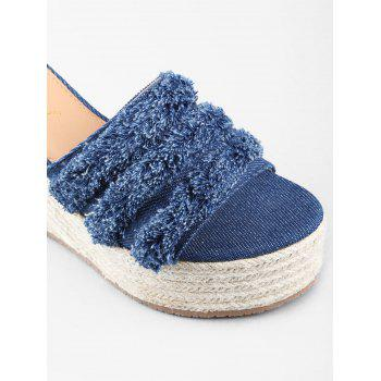 Wedge Heel Denim Leisure Frayed Edge Slides - DEEP BLUE 37