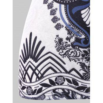 Sleeveless Plus Size Ethnic Print T-shirt - multicolor 4X
