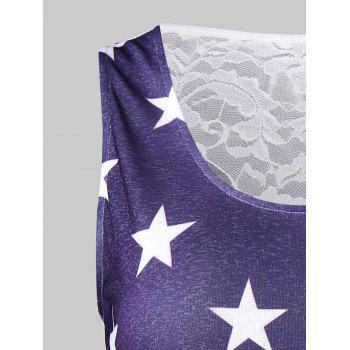 Lace Back American Flag Tank Top - multicolor M