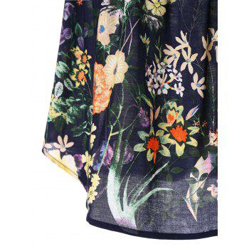 Lace Insert Floral Blouse - multicolor M