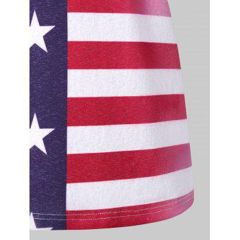 Lace Back American Flag Tank Top - multicolor 2XL