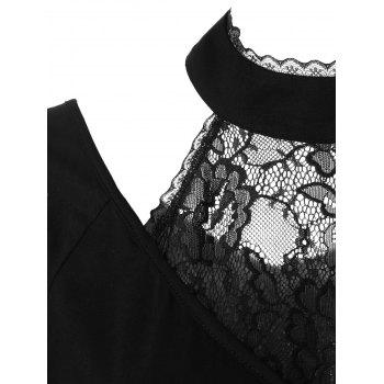 Lace Insert Choker T-shirt - BLACK 2XL