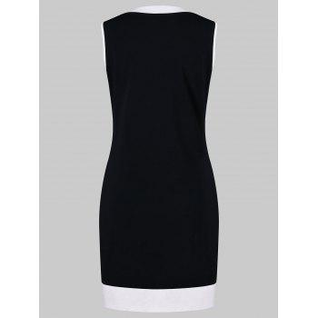 Lace Up Contrasting Trim Bodycon Dress With Cami Dress - BLACK XL