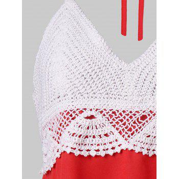 Halter Crochet Trim Backless Tank Top - RED L