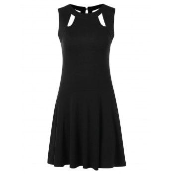 Rivet Open Back Sleeveless Drop Waist Dress - BLACK XL