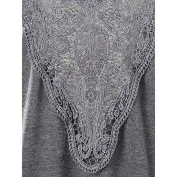 Plus Size Back Sheer Lace Top - GRAY 5XL