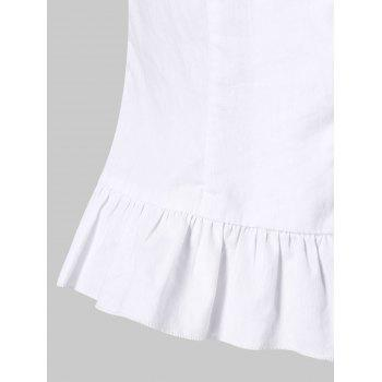 Smocked Sweetheart Neck Ruffle Hem Blouse - WHITE M