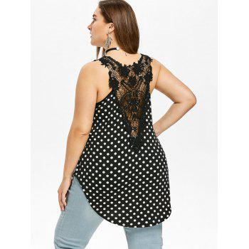 Plus Size Polka Dot Low Cut Tank Top - BLACK 2X