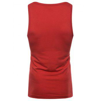 Figure Print Casual Tank Top - RED S