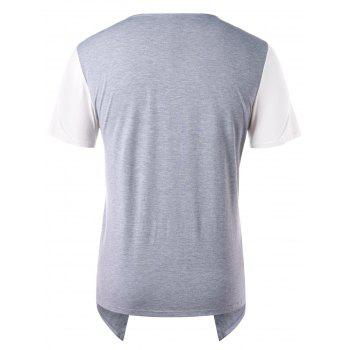 Asymmetric Faux Two Piece V Neck T-shirt - GRAY CLOUD 2XL