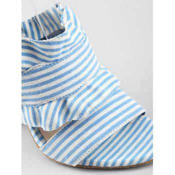 Striped Ruffless High Heel Ankle Strap Sandals - SEA BLUE 38