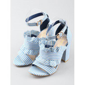 Striped Ruffless High Heel Ankle Strap Sandals - SEA BLUE 39