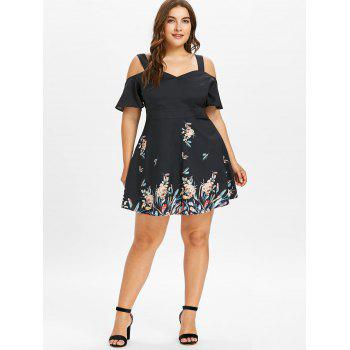 Plus Size Tropical Floral Cold Shoulder Dress - BLACK 1X