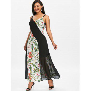 Chiffon Maxi Dress with Floral Print Panels - multicolor M