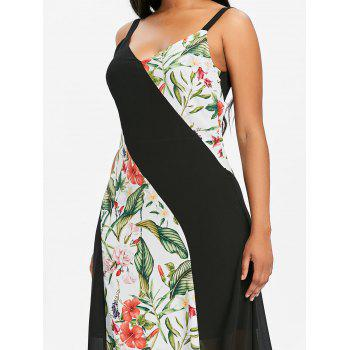 Chiffon Maxi Dress with Floral Print Panels - multicolor 2XL